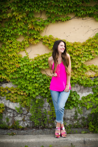 Wedges paired with boyfriend jeans and a super cute neon pink tank from Pink Slip Boutique with a gorgeous gold necklace