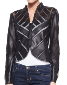 Bagatelle Lambskin Geometric sheer cut out jacket