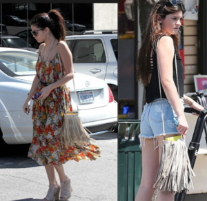 Selena Gomez and Kylie Jenner both rocked a McFadin Sundance fringe crossbody in Stone