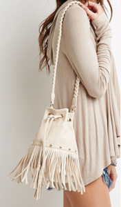 Forever 21 bucket fringe bag in cream $24.90