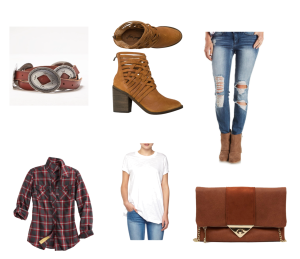 Brown suede strap ankle boots, belt with conches, white boyfriend tee shirt, flannel shirt and leather handbag