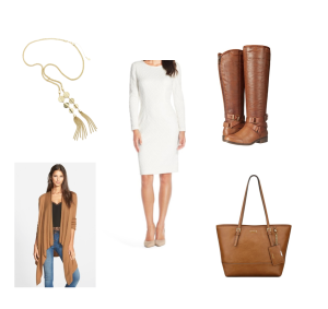 White long sleeve body con dress, camel cardigan, brown riding boots, brown purse, gold tassel necklace