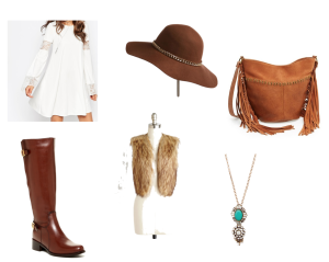 White ASOS dress, brown hat, brown suede fringe purse, brown riding boots, brown faux fur vest, turquoise necklace