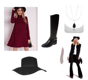 Cranberry sheath dress, black riding boots, black floppy hat, black faux fur vest