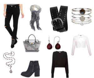 Black biker ankle boot, grey scarf, layered with button down white shirt and black cropped sweater, garnet earring and stoned bracelet and necklace