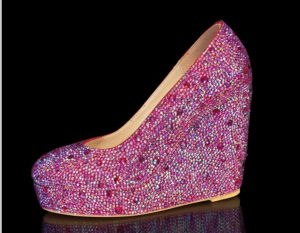 pink crystal prom shoes