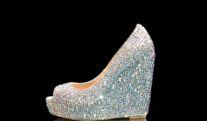 crystal wedge prom shoe