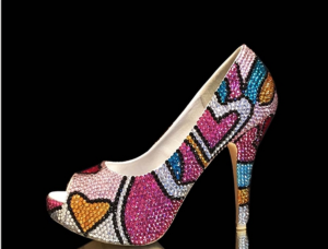 multi color crystal prom shoes