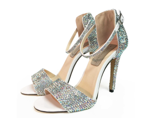 Silver crystal scrappy sandals