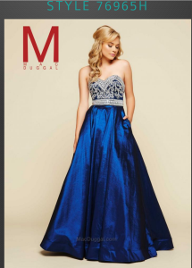 royal blue beaded ball gown prom dress