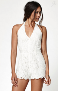white Lace romper from Kendall & Kylie collection for Pac Sun