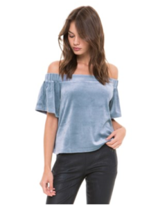 cold shoulder velour top